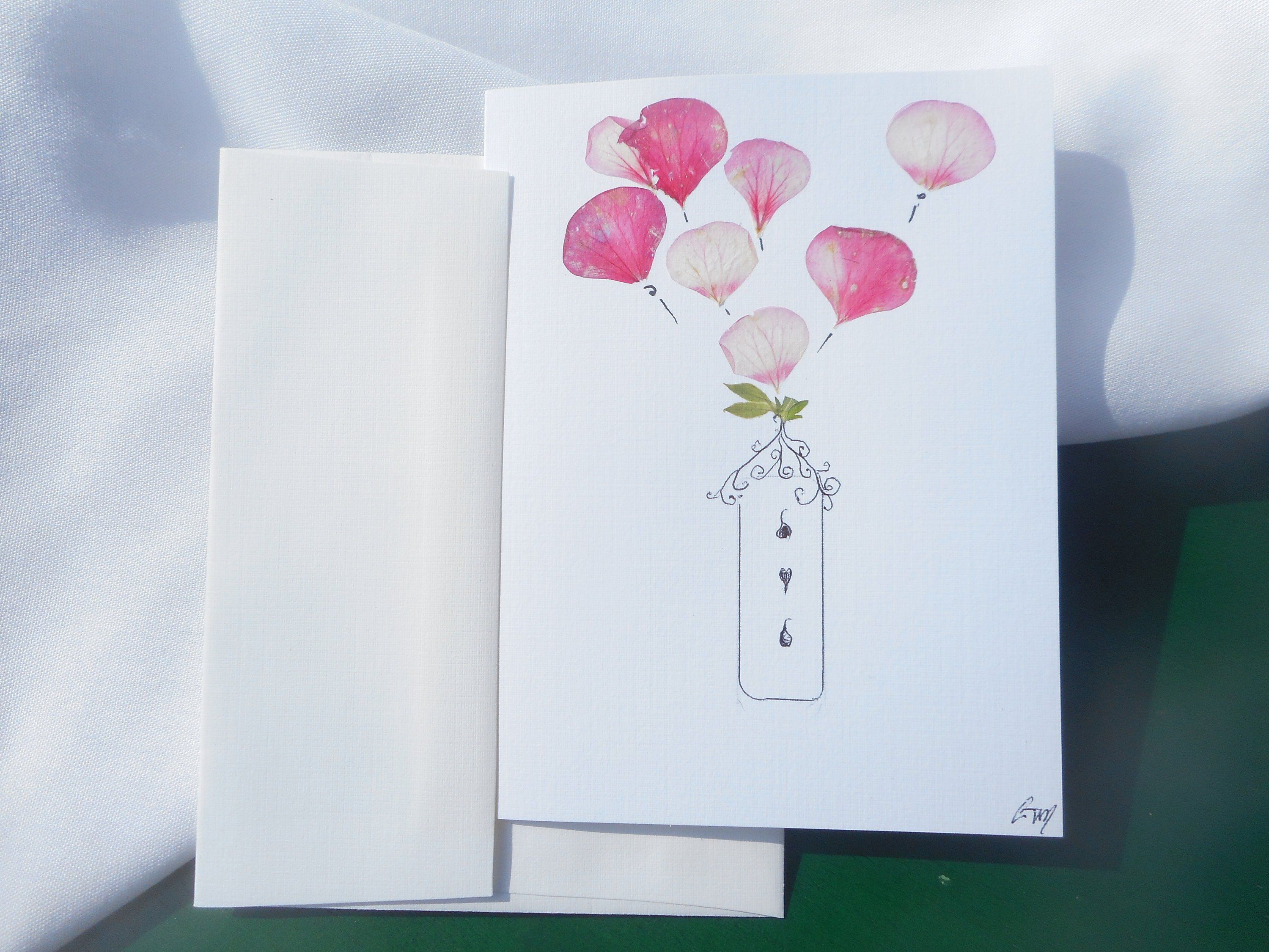 Cute card for someone special handpressed real flowers simple