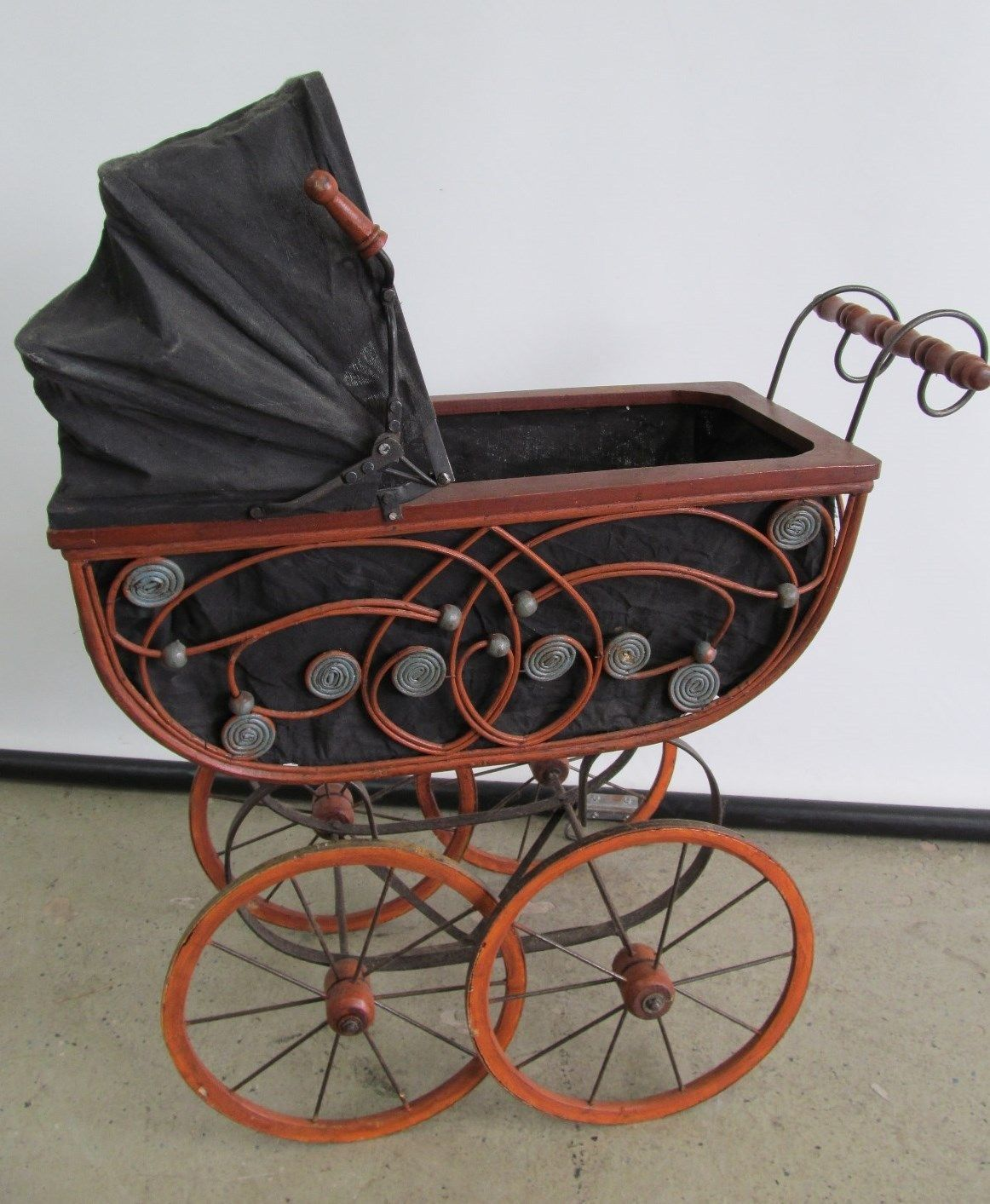 Antique 1800 Baby Carriage Pram Wicker Design Wood With