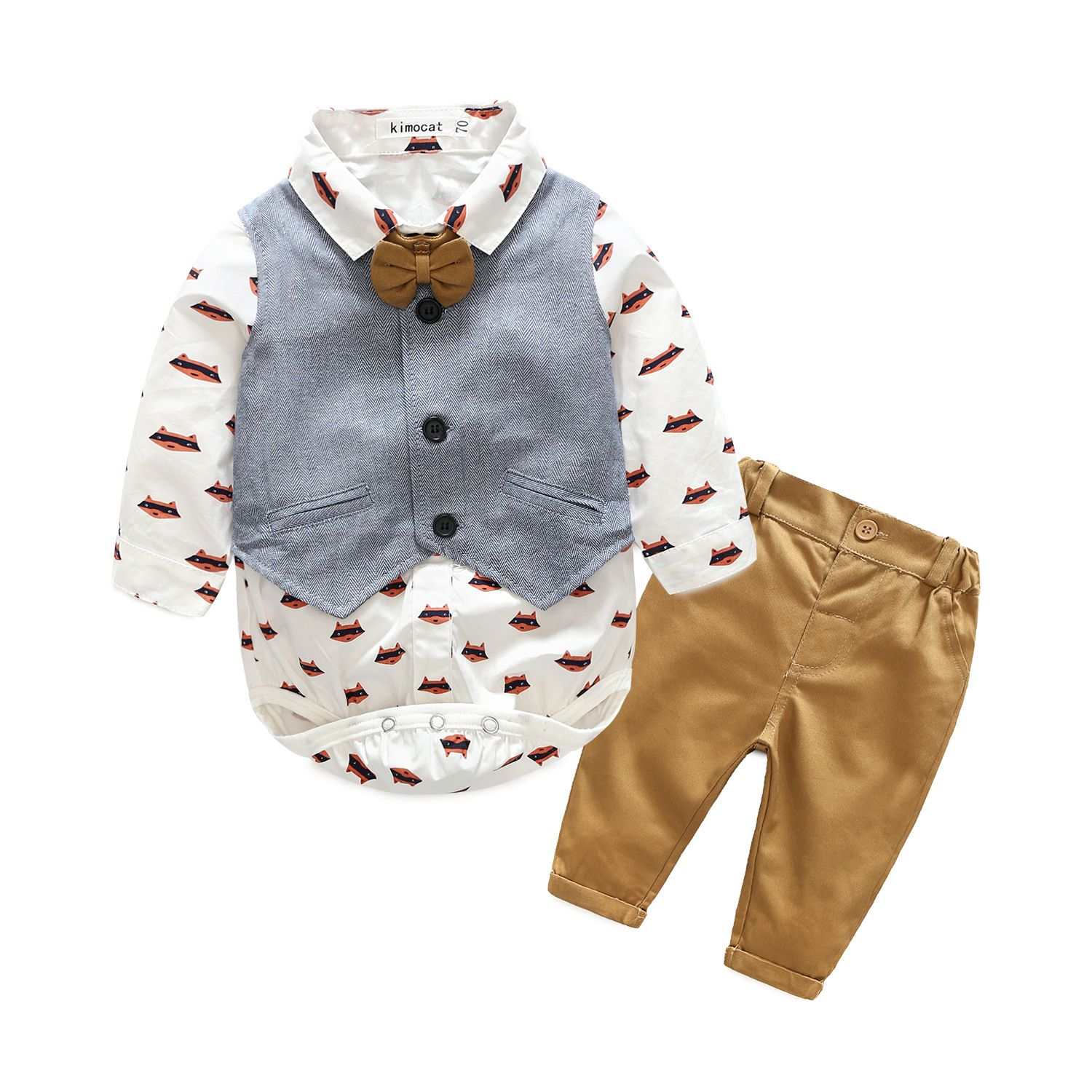 2 piece Printed Fox Top Solid Vest and Pants for Baby Boy