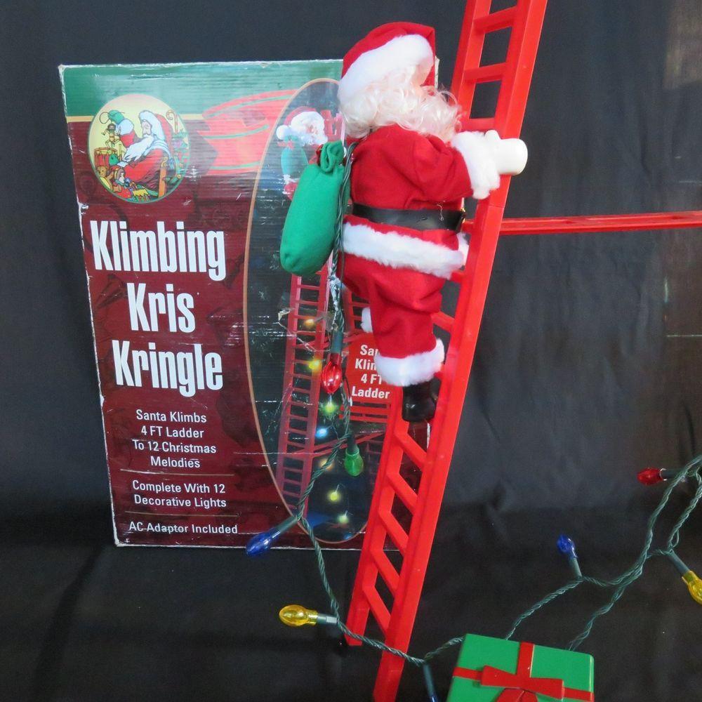 Klimbing Kris Kringle Musical Mechanical Santa Climbing 4 Ladder See Video Kris Kringle Christmas Musical Christmas Items