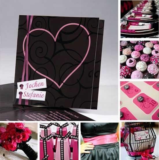 Schwarz Und Pink Hochzeitsthema Idee. Tischkarten HochzeitEinladungskarten  ...