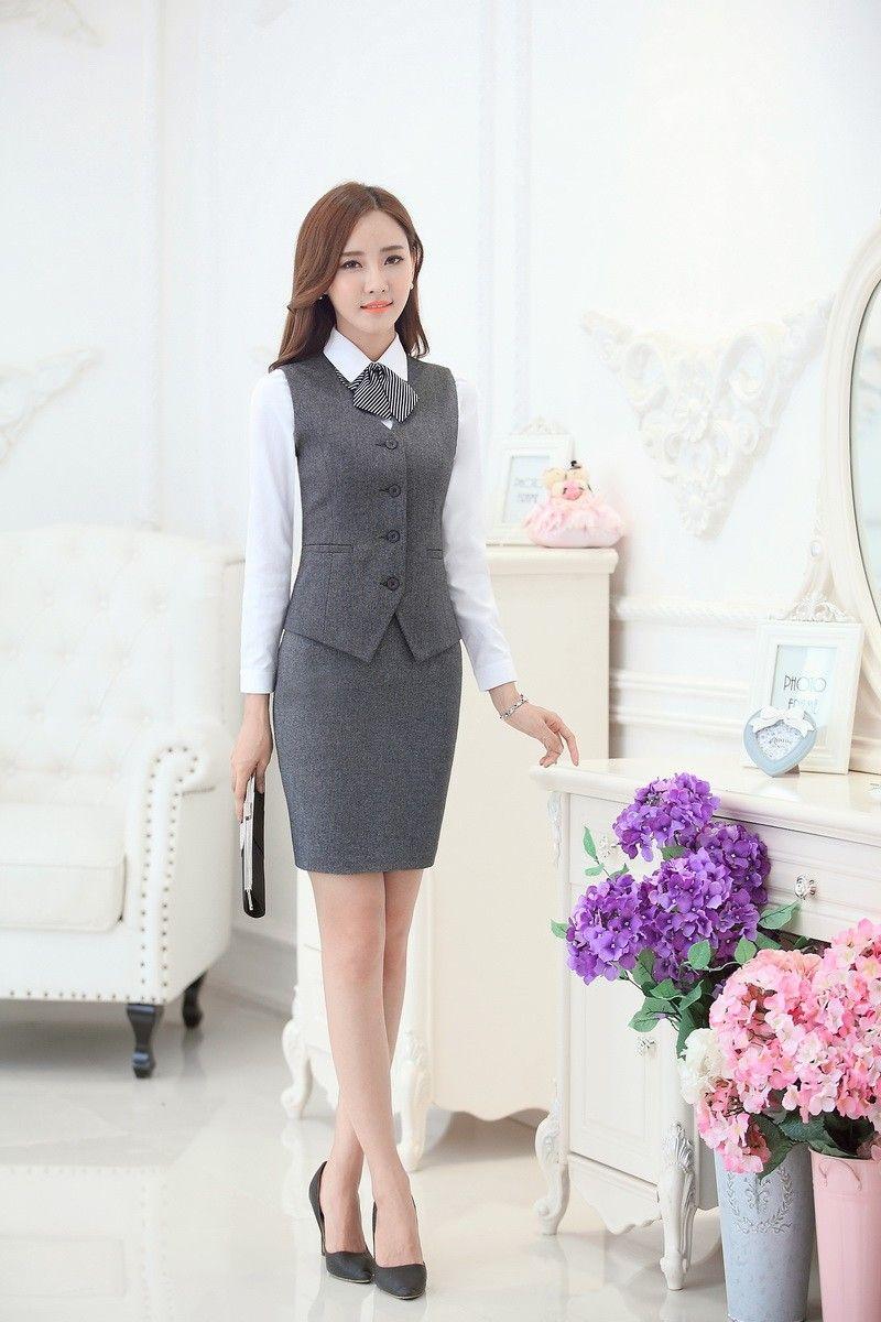 6a9cae64a Moda mujeres trajes de negocios con falda y chaleco de juegos del ...
