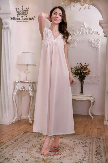 198a92f8f2f0 New MISS LINDA Summer Collection - Silk Elegance Long Nightgown -  follow   like  cute  Silk  babydoll  Sleepwear  nightgowns  MISSLINDA