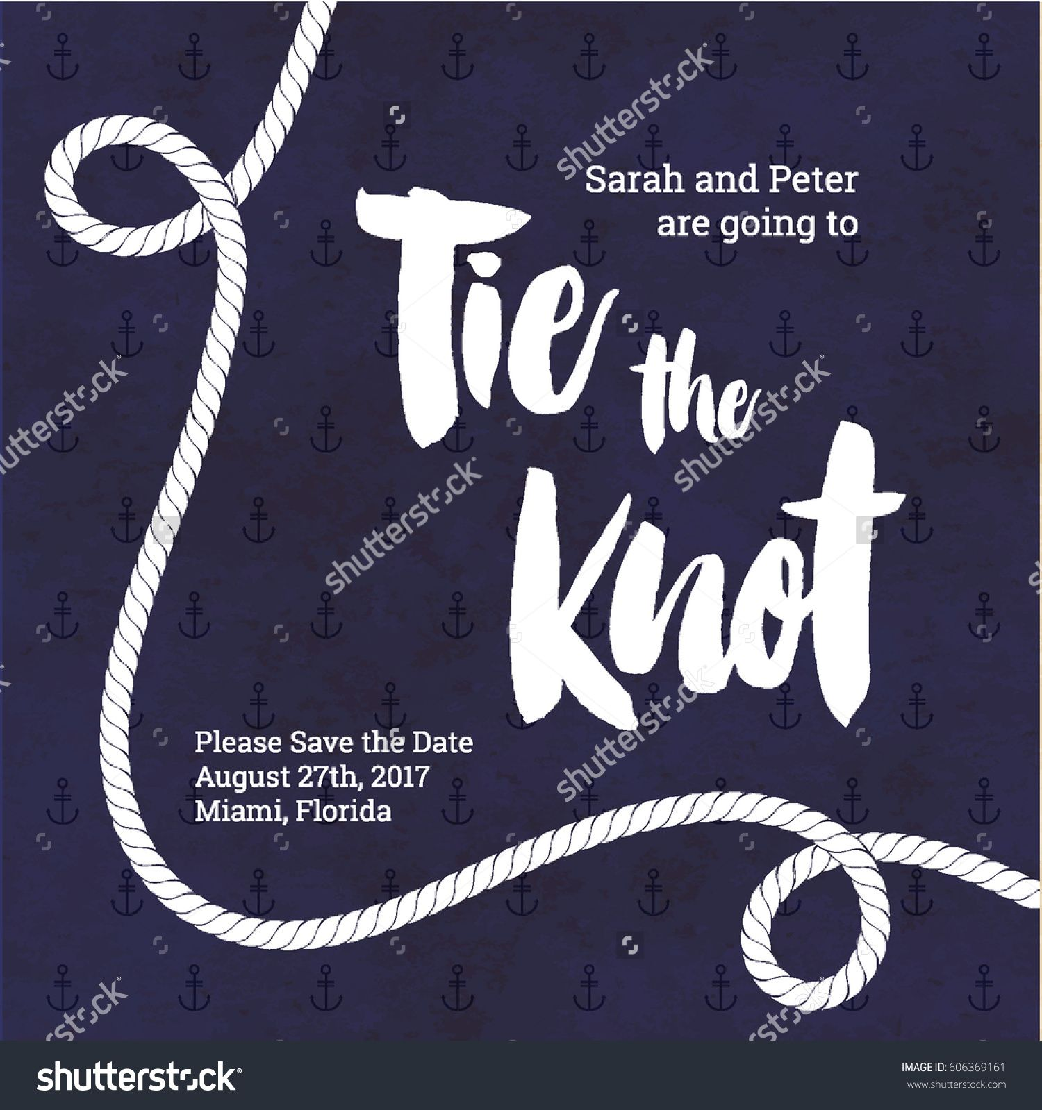 Tie The Knot Wedding Invitation Nautical Card Design