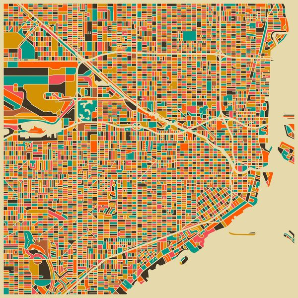 Map Of Miami By Jazz Berry Blue Map Art Print Map Art Miami Art