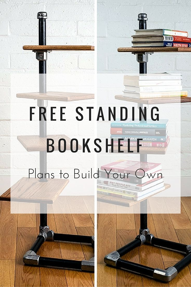 Free Standing Bookshelf Plans To Build Your Own DIY Pipeshelf Pipe