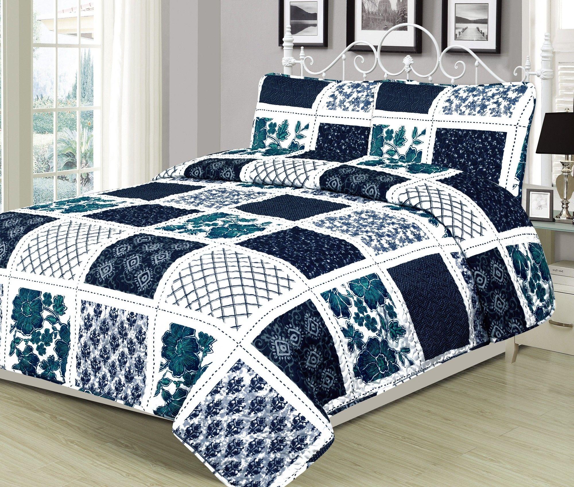 Twin Full Queen King Bed Blue White Polka Dot Reversible 3 pc Quilt Coverlet Set
