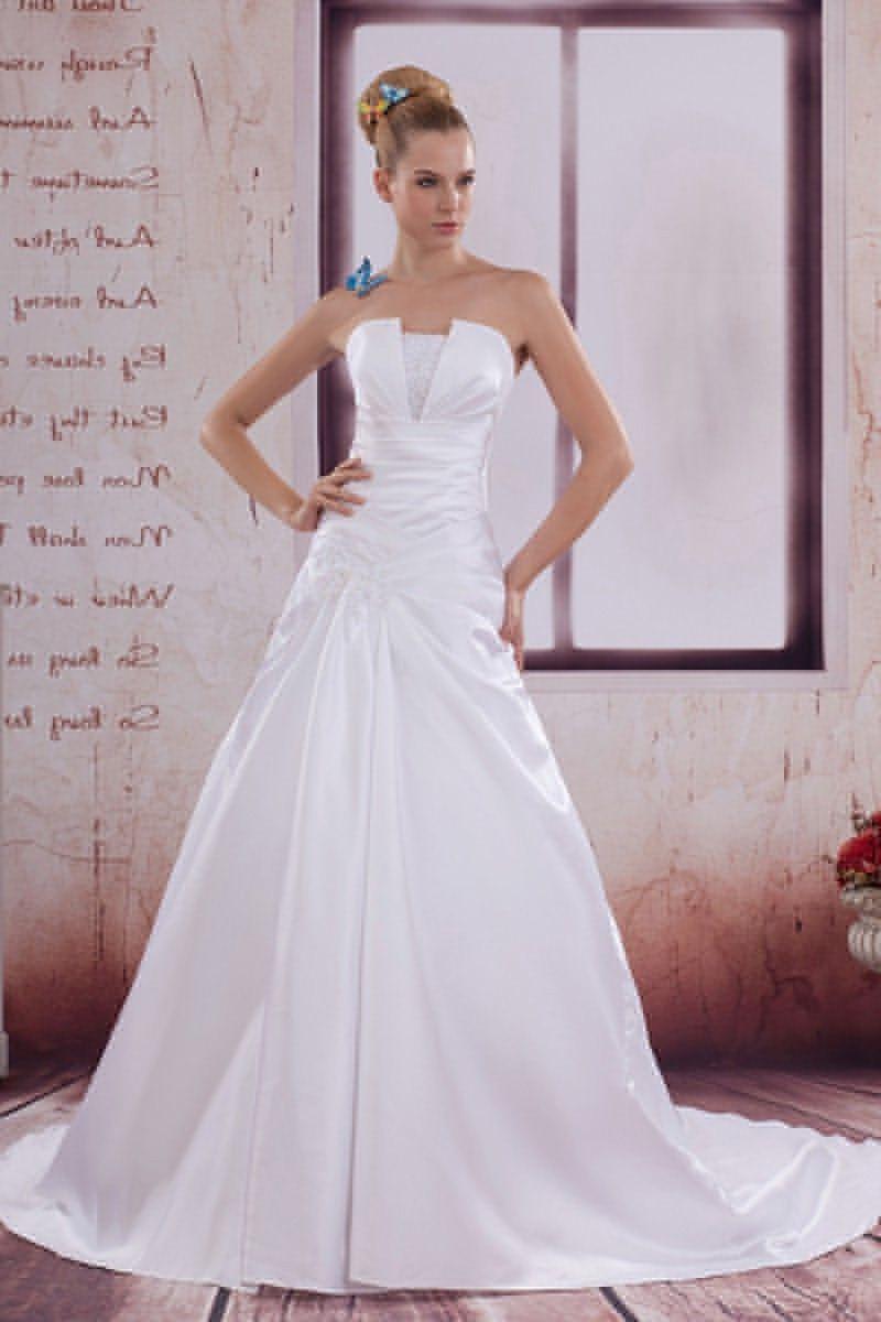 40++ White satin a line wedding dress information