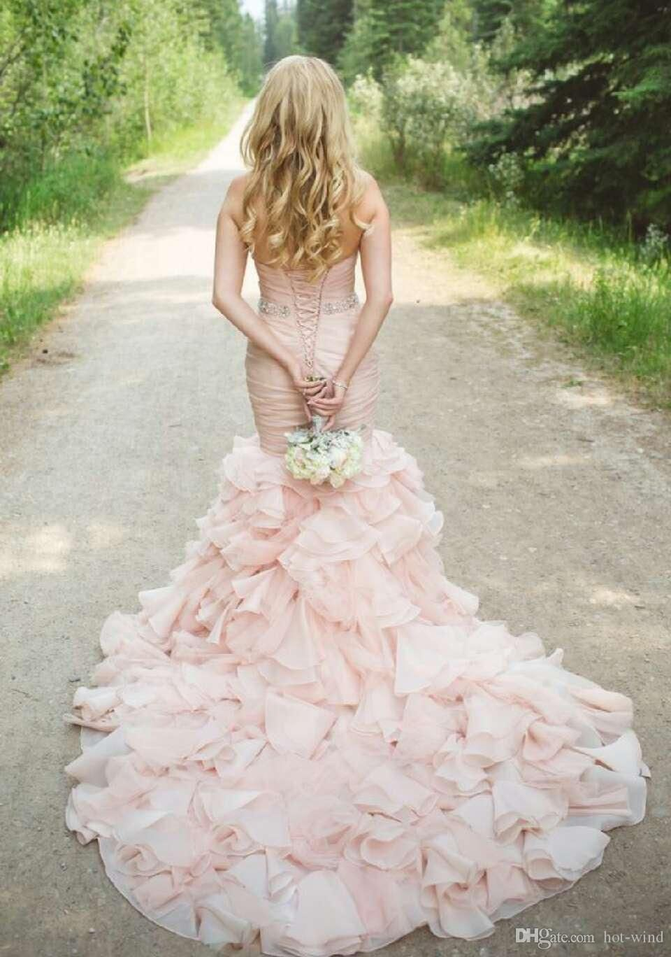 Buy wholesale real image blush pink sweetheart tiered layered organza mermaid wedding dresses 2016 with bling crystal belt lace up back bridal gowns which is at a discount now. hot-wind has guaranteed its quality. mermaid dress, pink wedding dress and princess wedding dresses are all in the list of superb dresses.