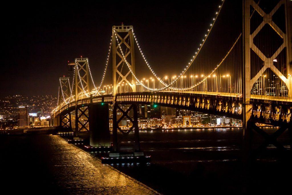 Bay Bridge At Night Wallpaper Bay Bridge Bridge Wallpaper Bridge
