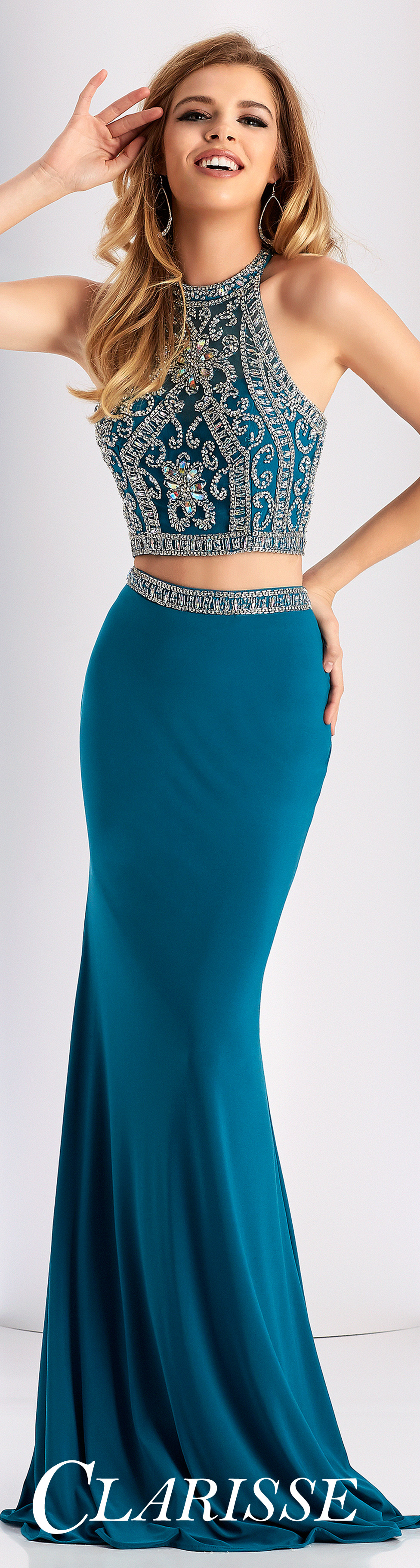 Clarisse Prom Dress 3006. Two piece fitted prom dress with beaded ...
