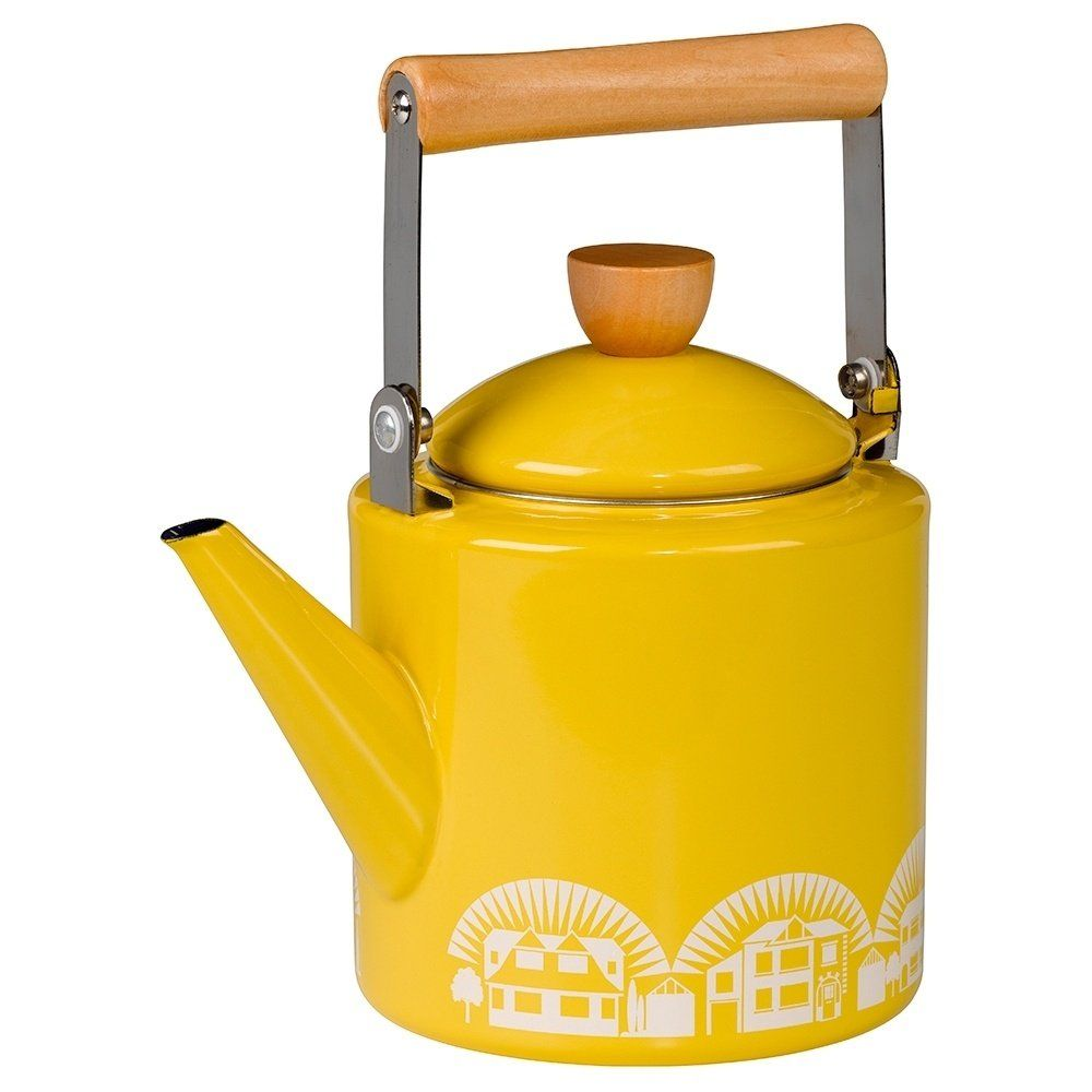 cdcccdaafd - wild wolf mini moderns stove top enamel kettle kitchenalia