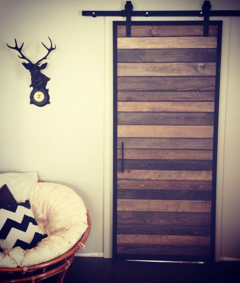 Porte Coulissante - Cadre en métal, différentes essences de bois
