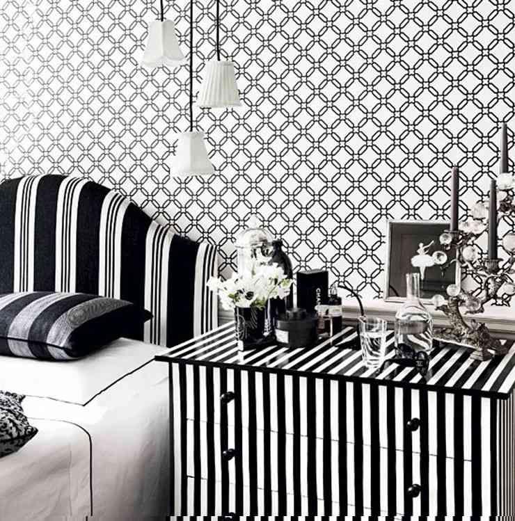 Papier Peint Original Noir Blanc Luminaire Suspension Meuble Rayures Bedroom Wallpaper Black And White Girls Bedroom Wallpaper Teenage Room Decor