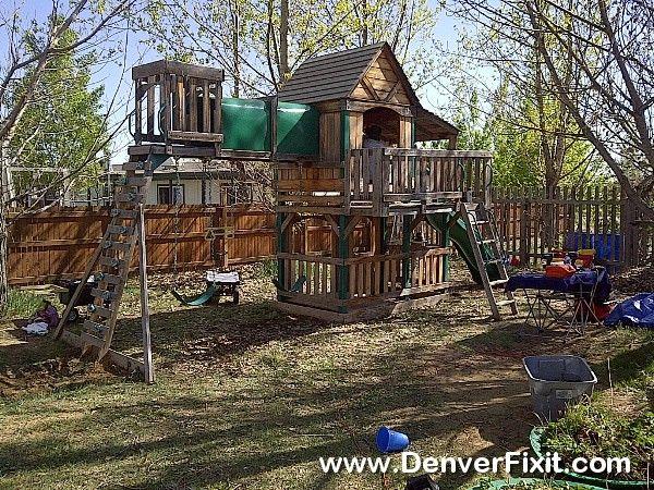 An Older Sam's Club Woodridge Playset By Backyard