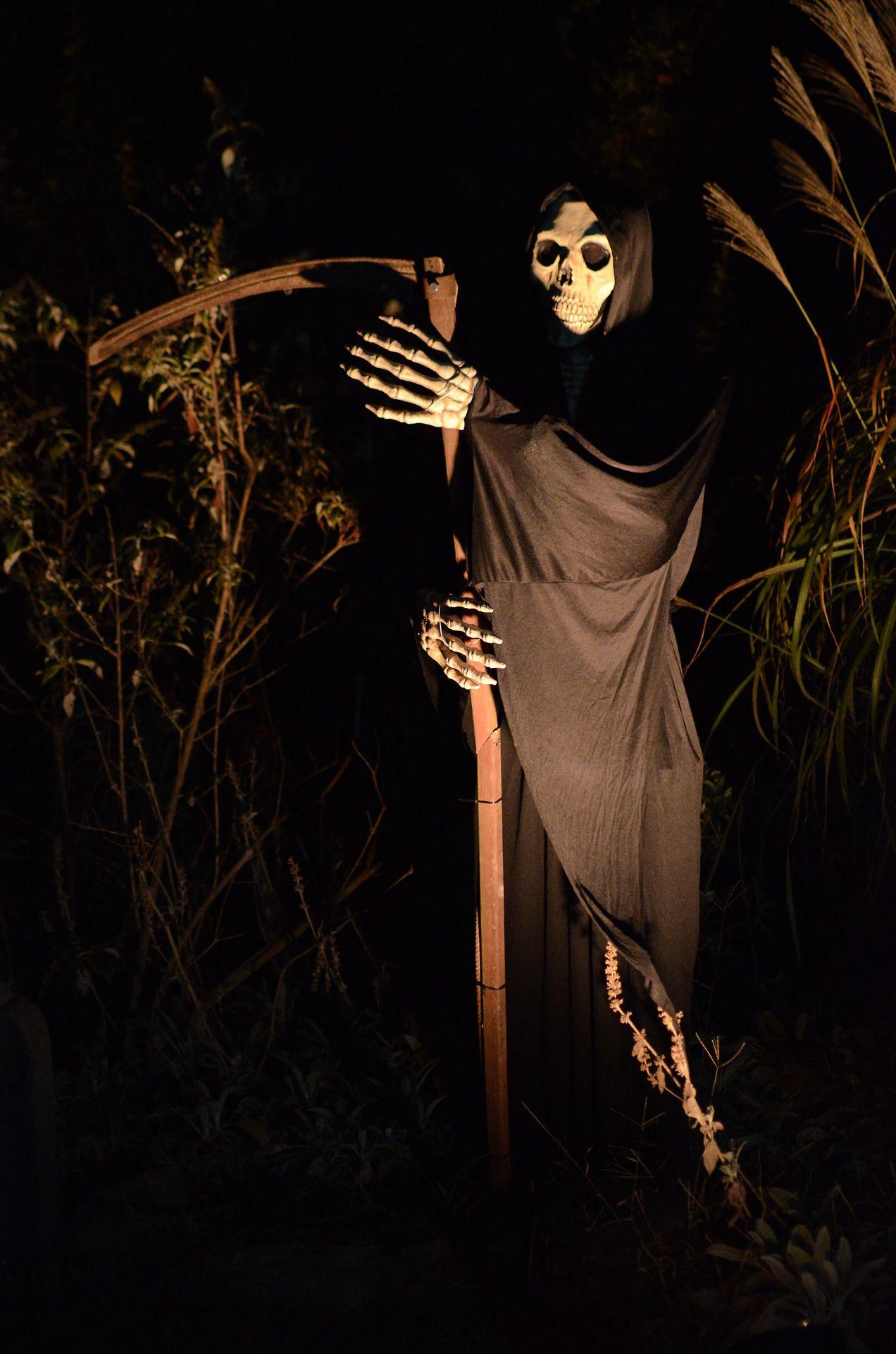 Grim reaper by the front door Halloween Prop Pinterest Grim - front yard halloween decorations