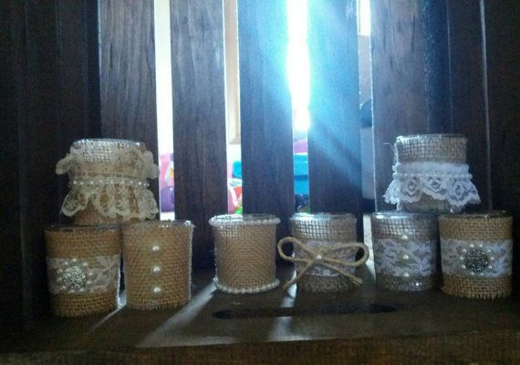 Check out this item in my Etsy shop https://www.etsy.com/listing/241440100/12-rustic-glass-candles-with-lace-burlap