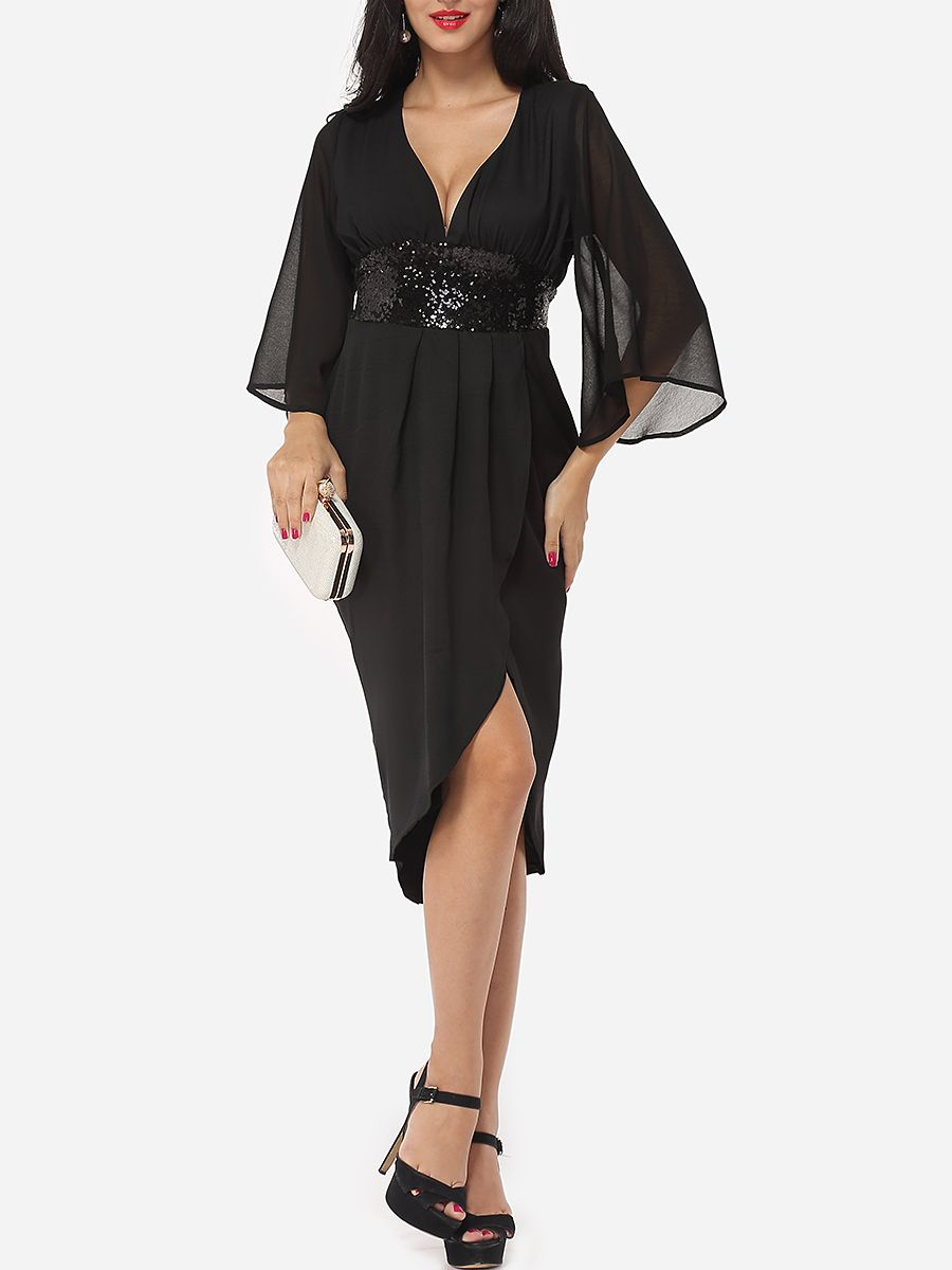 Hollow out plain paillette cape sleeve sexy v neck maxidress only