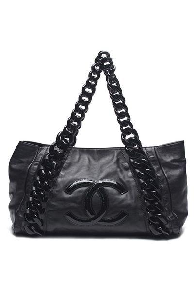 c32c409b739 Chanel Black Calfskin Leather Rhodoid Modern Chain Bowling Bag - Photo 1