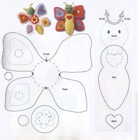 Moldes para Hacer Mariposas de Fieltro para Imprimir | Farfalle ...