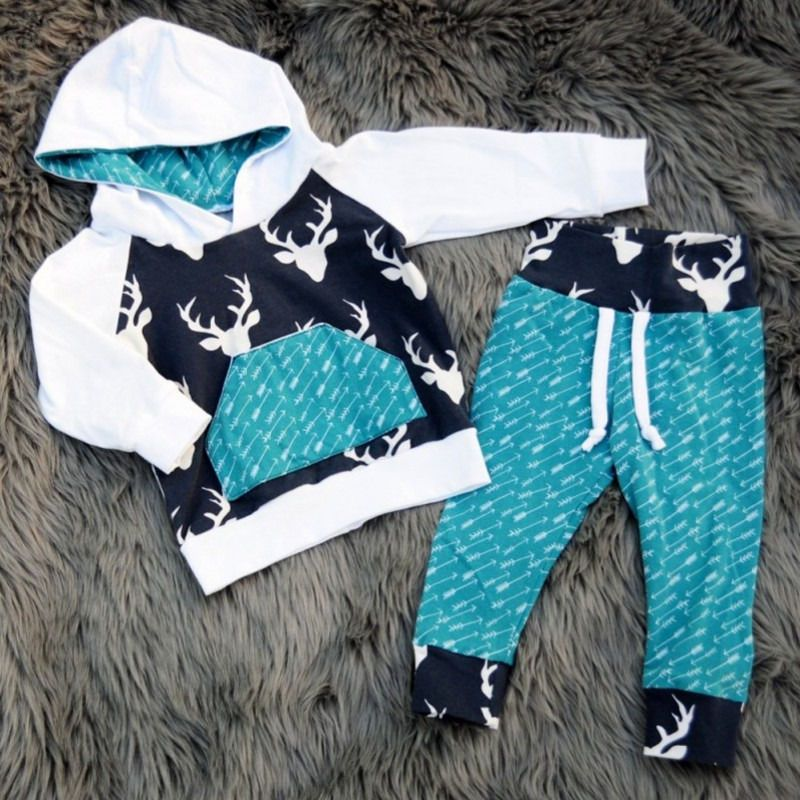 9357d62bf 2Pcs Toddler Baby Boys Girls Deer Hoodie Tops Pants Outfits Set ...