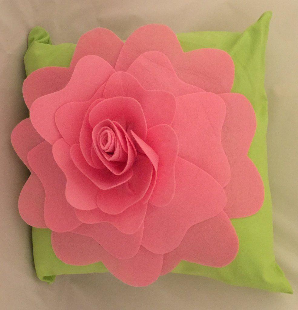 Rose Throw Pillow On Green Pink Flower Pillow 3d Flower Pillow Pink Flowers Pink