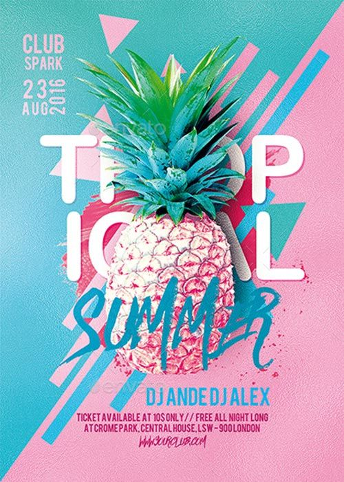 Tropical Summer Party Flyer Template -   ffflyer/tropical