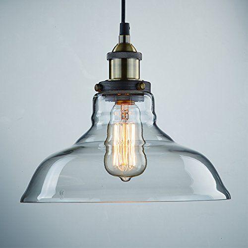 LES® YOBO Lighting Industrial Edison 1 Light Glass Shade Ceiling Pe ...