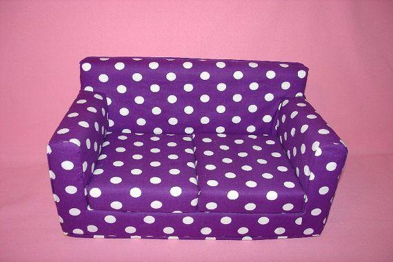 18 Inch Purple White Polka Dot Sofa  Modern by MaJeansCreation