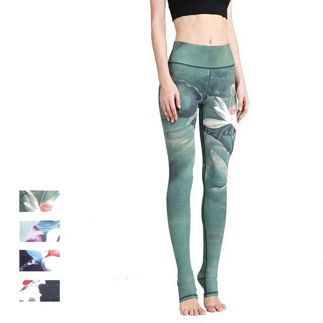 4688f63a263171 Floral Ocean Printed Yoga Pants Dry Fit Sport Pants Elastic Fitness Gym  Workout Running Tight Leggings Female Trousers Women Sexy Blue White  Flowers (FREE ...