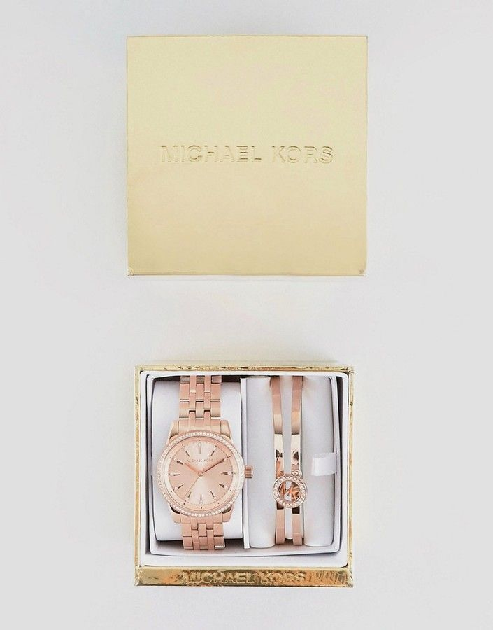 best choice pre order details for Michael Kors MK3744 Ritz Bracelet & Watch Gift Set In Rose ...