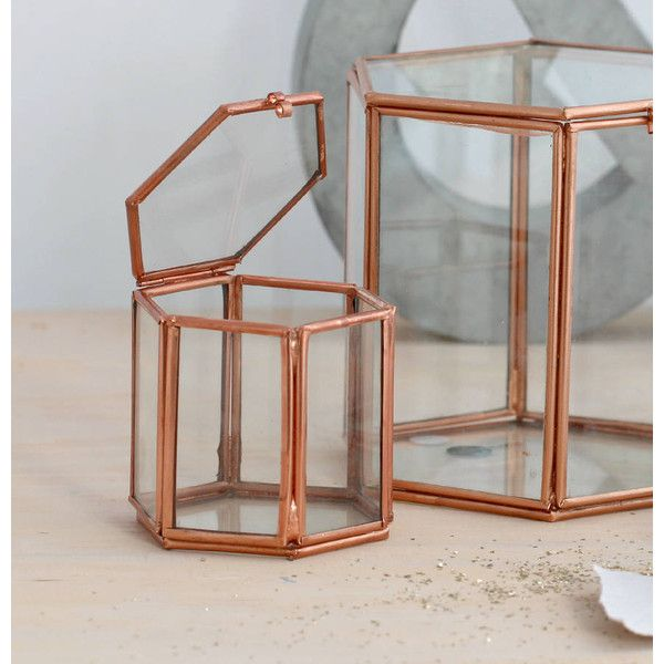 Posh Totty Designs Interiors Small Copper And Glass Geometric Box 11 Liked On Polyvore Featuring Home Home Decor Geometric Box Geometric Mirror Geometric