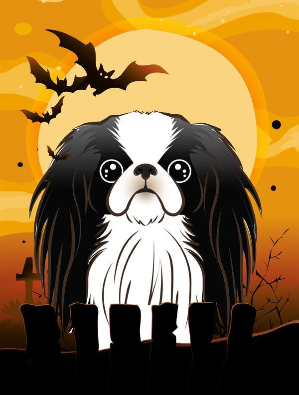 Halloween Japanese Chin Flag Canvas House Size BB1788CHF