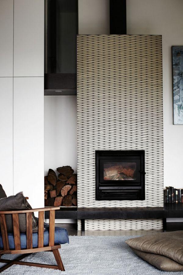 modern, patterned fireplace