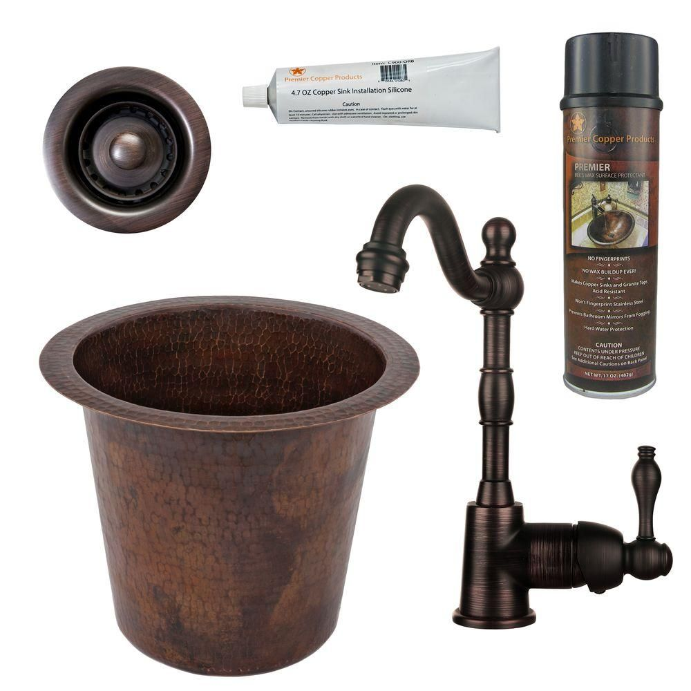 Premier Copper Products All In One Dual Mount Hammered Copper Round 12 In 0 Hole Champagne Bar Sink In Oil Rubbed Bronze Bsp4 Br12wdb B Drop In Kitchen Sink Sink Bar Sink