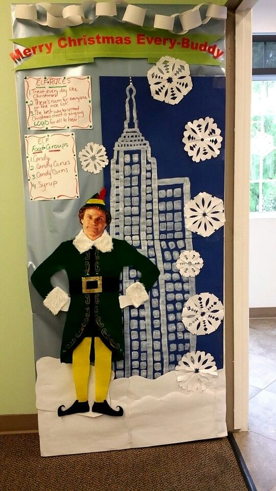Elf movie door decoration craft ideas pinterest for Elf door decoration