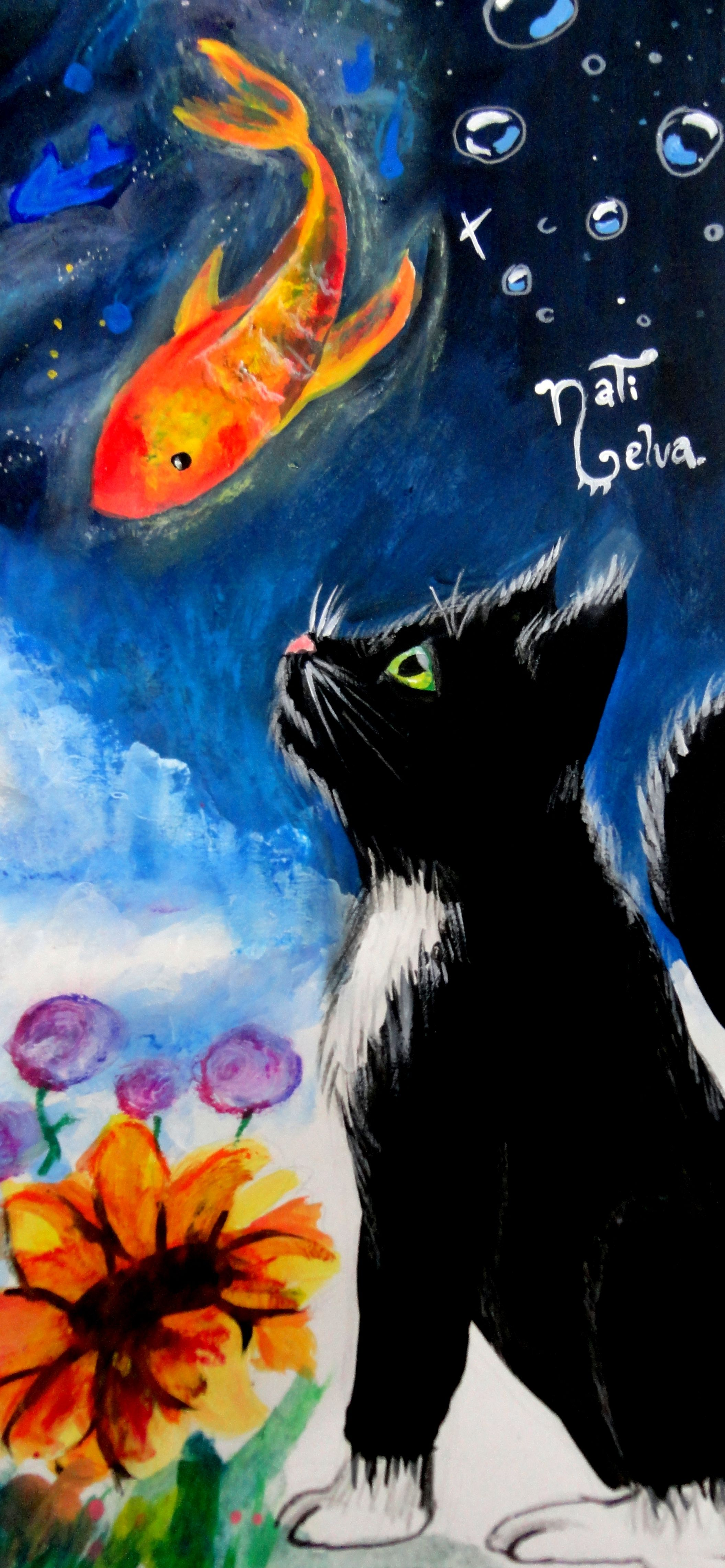 pescado, #gato, #dibujo, #colores, #planeta, #luna, #flores, #cielo ...