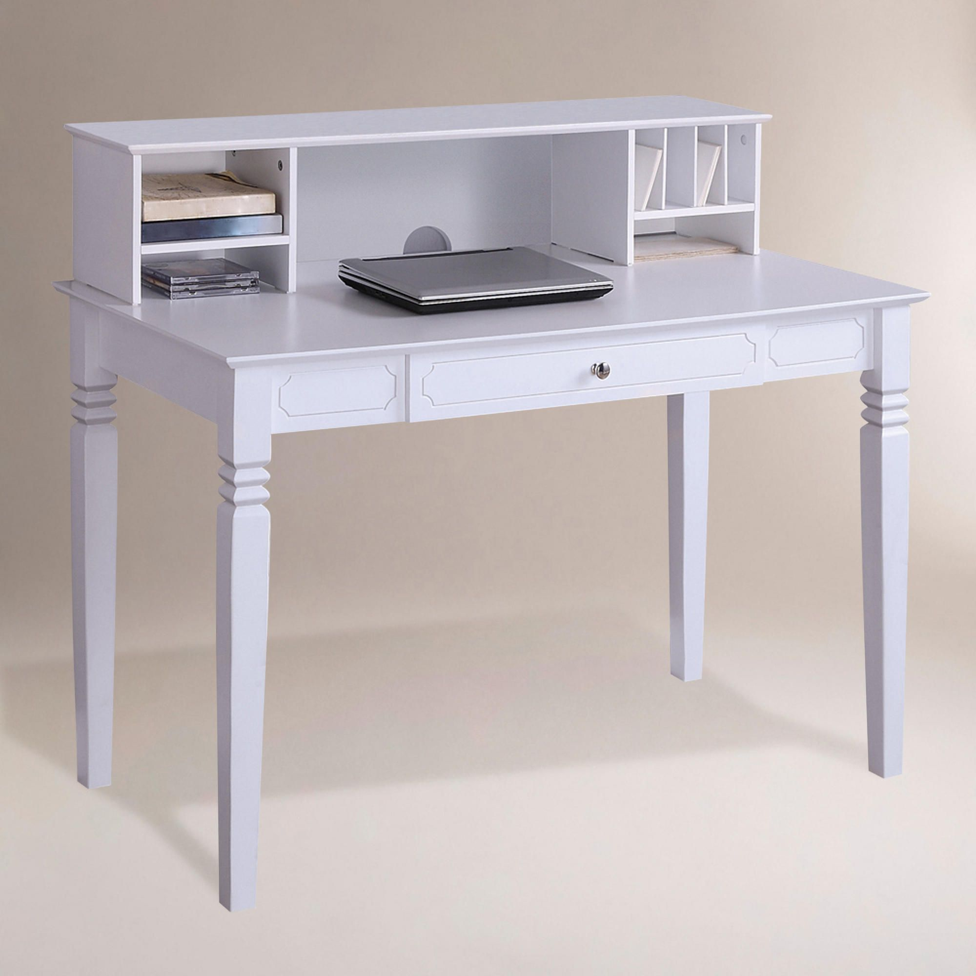 White Douglas Desk With Hutch | World Market