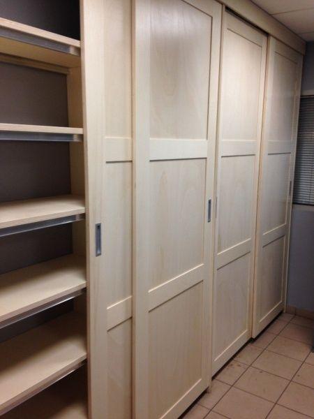 portes coulissantes placard chêne - Réf pack 2 vantaux en chêne - rail porte de placard coulissante