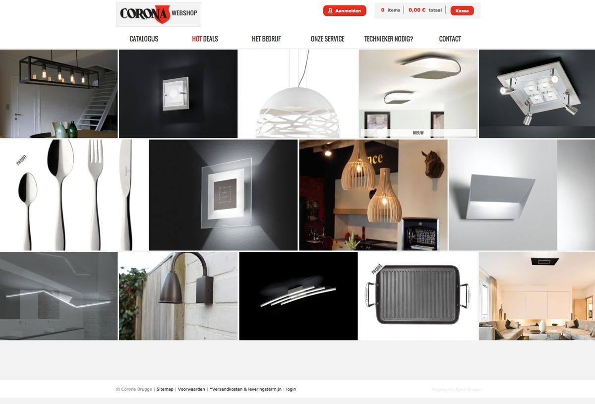 Visueel vlotte webshop voor een selectie van verlichting en ...