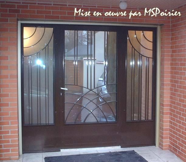 Porte d 39 entr e en fer forg mod le art d co fewzi for Decor mural exterieur fer forge