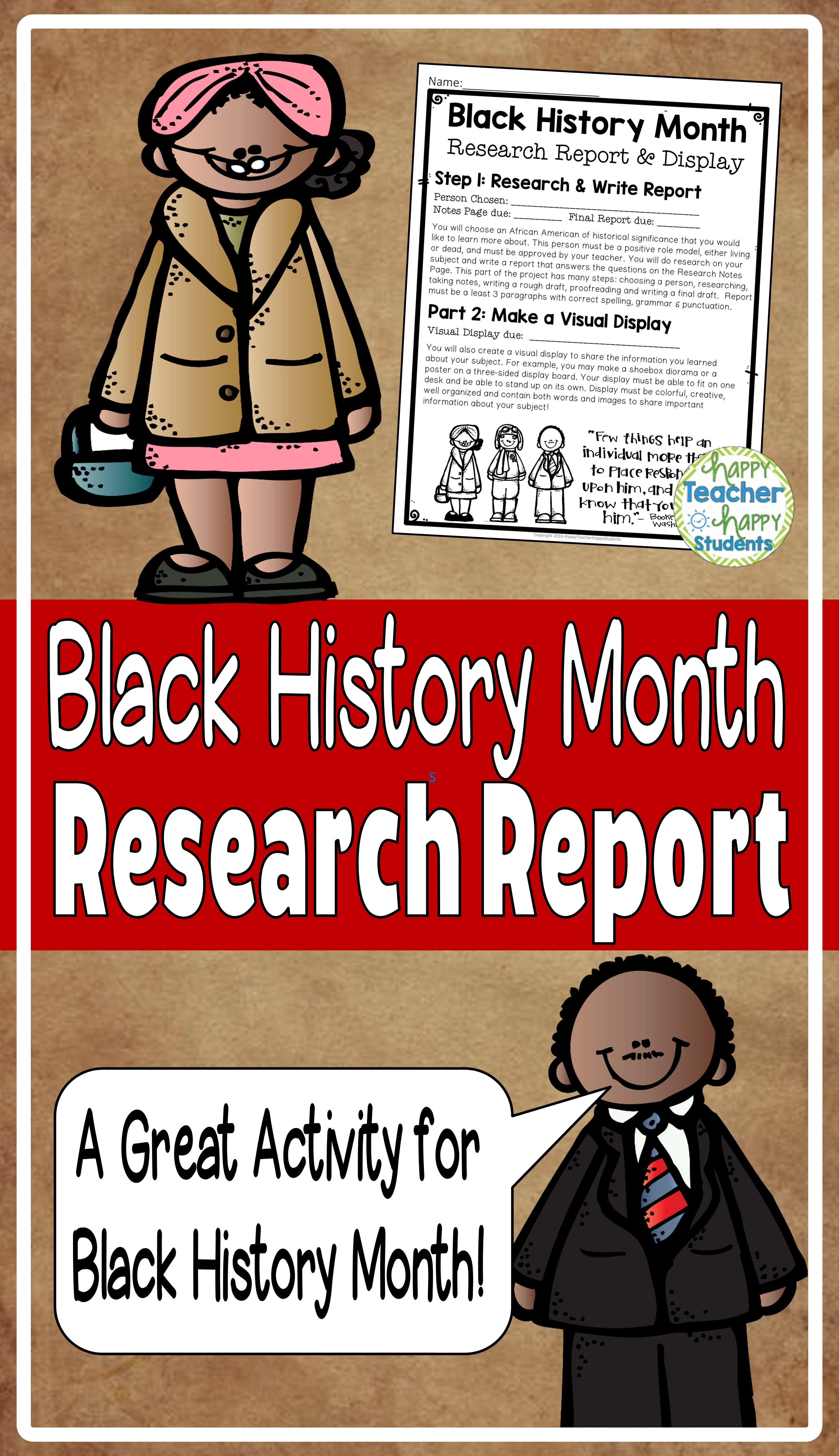 Black History Month Research Report With Optional Visual