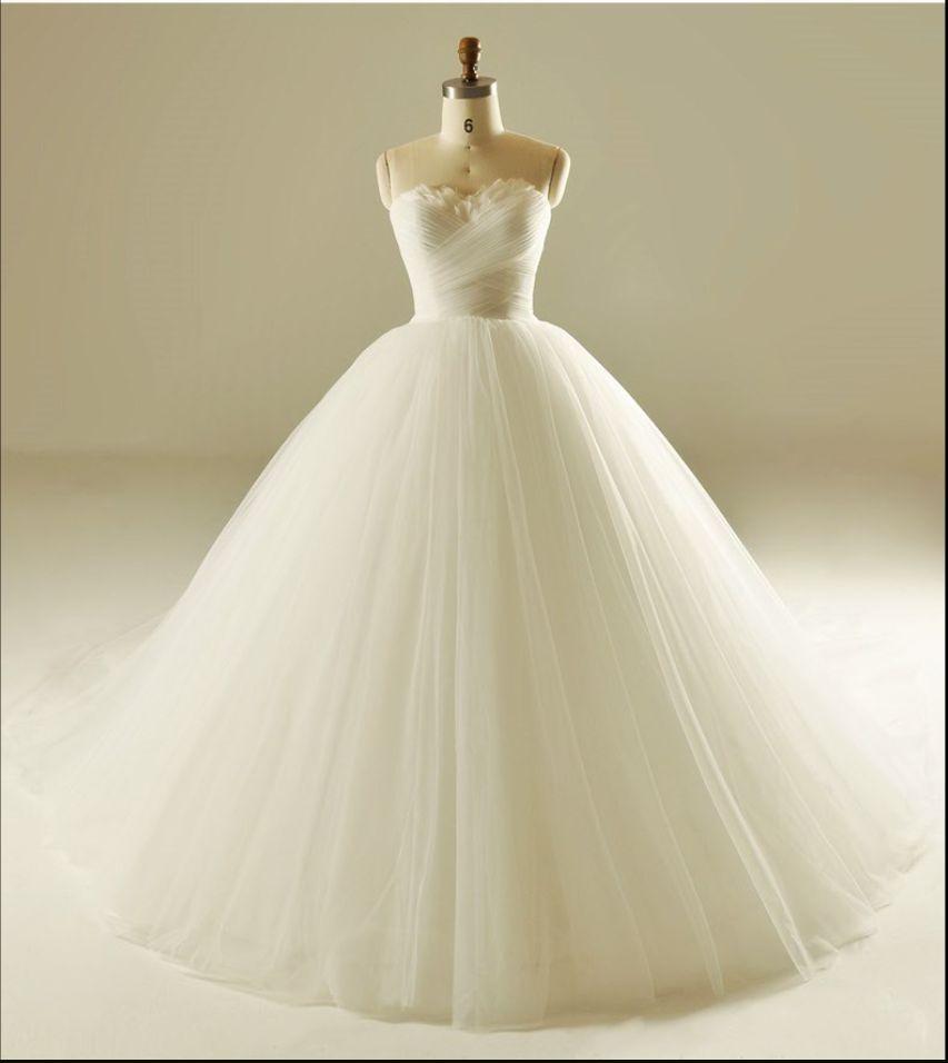 Strapless a line tulle wedding dresses simple long custom