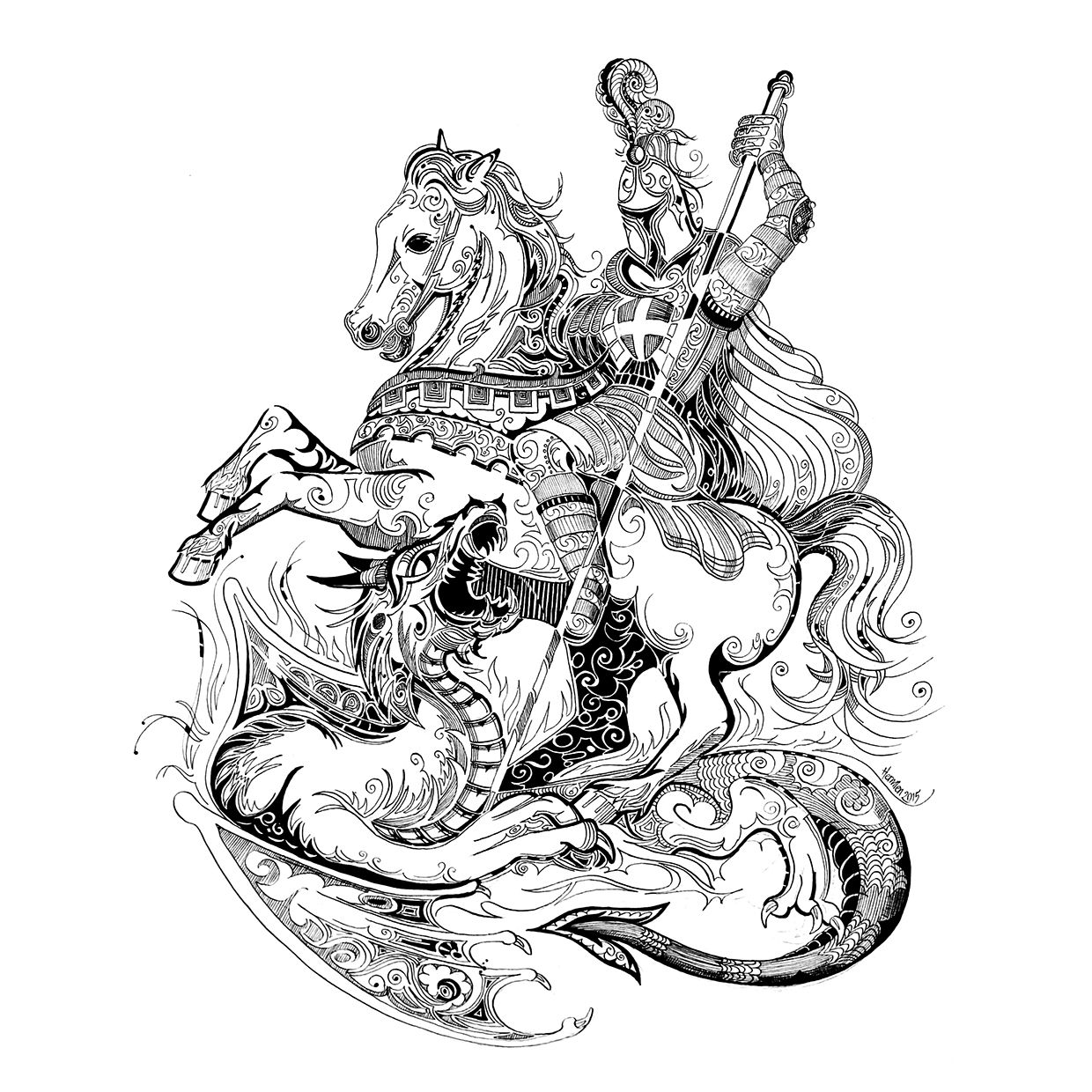 saint george and the dragon on behance tattoo pinterest behance dragons and saints. Black Bedroom Furniture Sets. Home Design Ideas