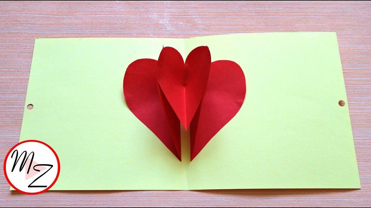 Diy 3d Heart Pop Up Card Step By Step Tutorial Maison Zizou Heart Pop Up Card Card Tutorial Paper Heart