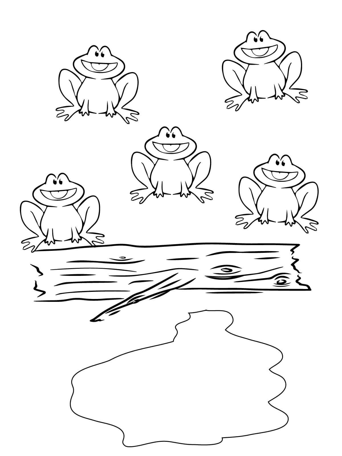 Five Little Speckled Frogs coloring