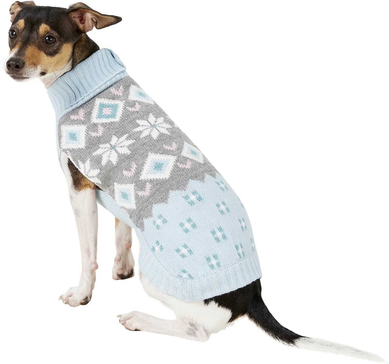 Pup Crew Snowflake Fair Isle Dog Sweater Cat