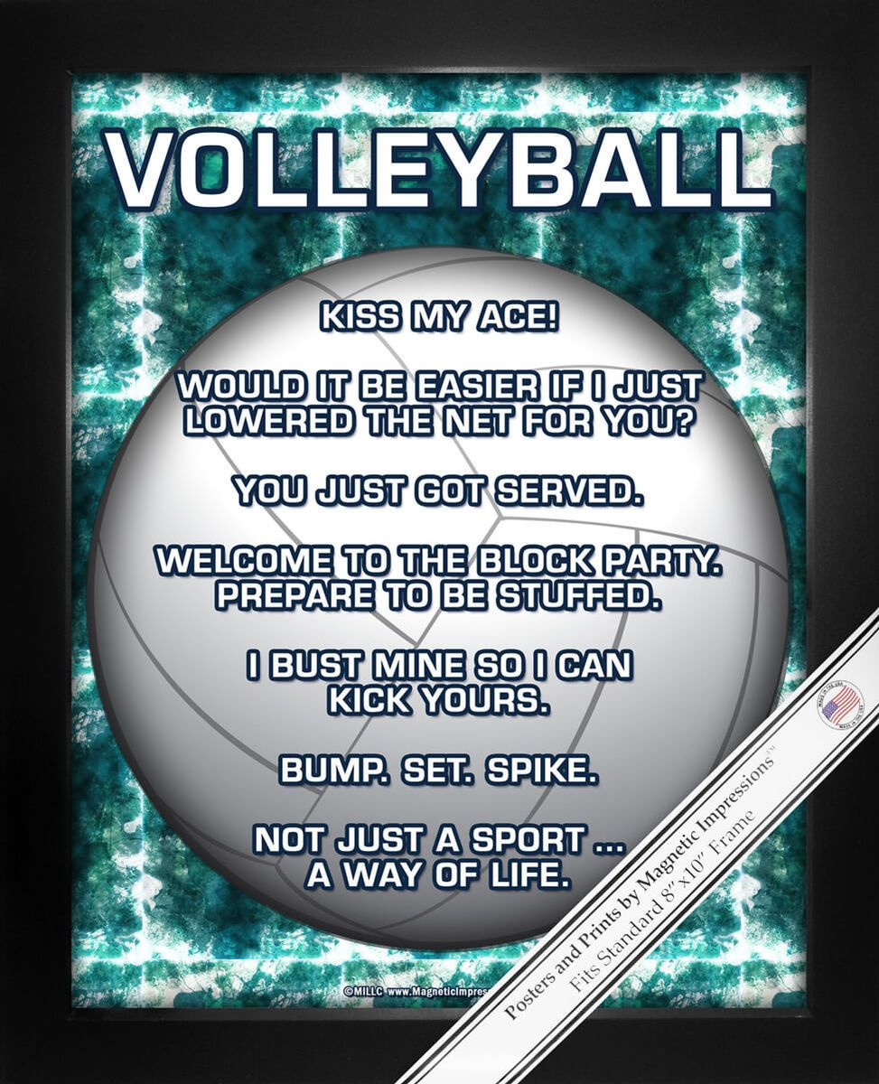 Volleyball 8x10 Sport Poster Print Volleyball Humor Volleyball Workouts Volleyball Inspiration