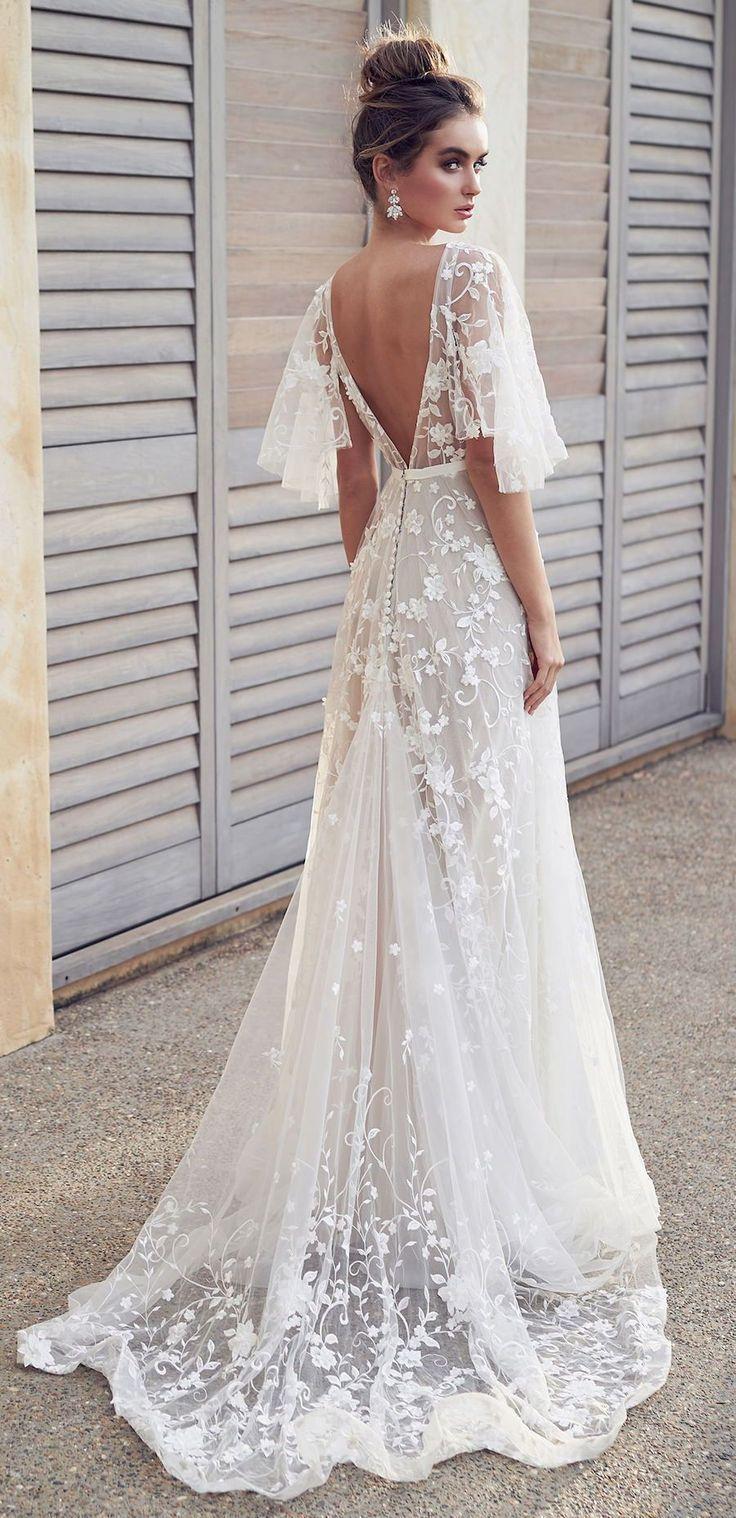 2020 Romantic White Flower Appliques Wedding Dress,Lace Long Bridal Dresses,Wedding Dress #bohoweddingdress