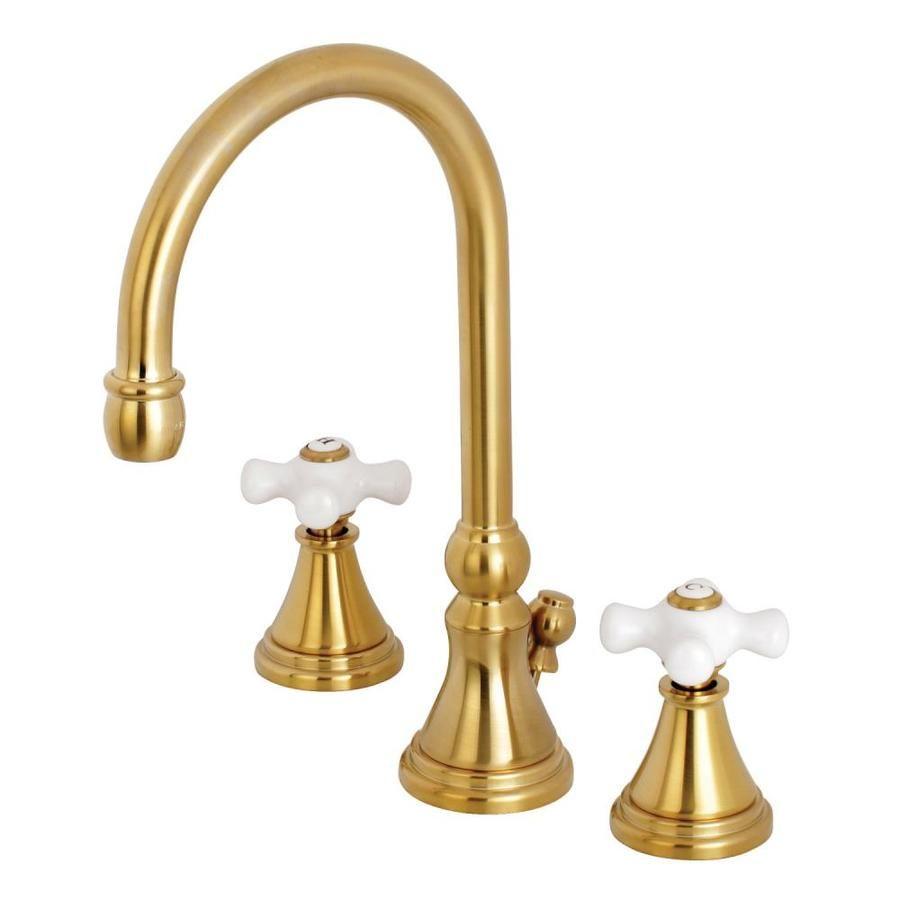 Kingston Brass Governor Brushed Brass 2 Handle Widespread Bathroom